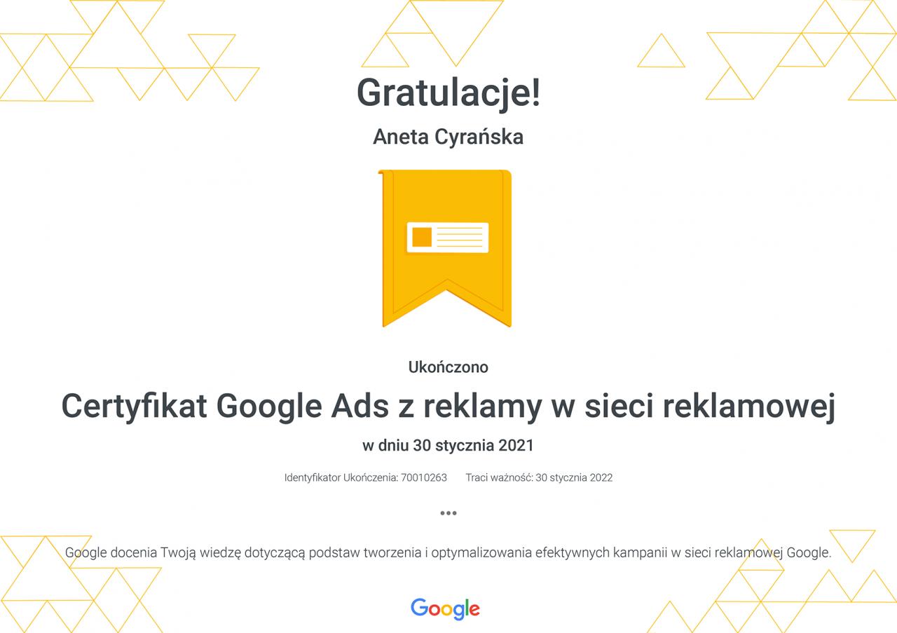 Certyfikat Google Ads zreklamy wsieci reklamowej _ Google