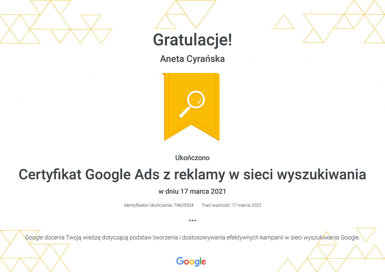 Certyfikat Google Ads zreklamy wsieci wyszukiwania _ Google