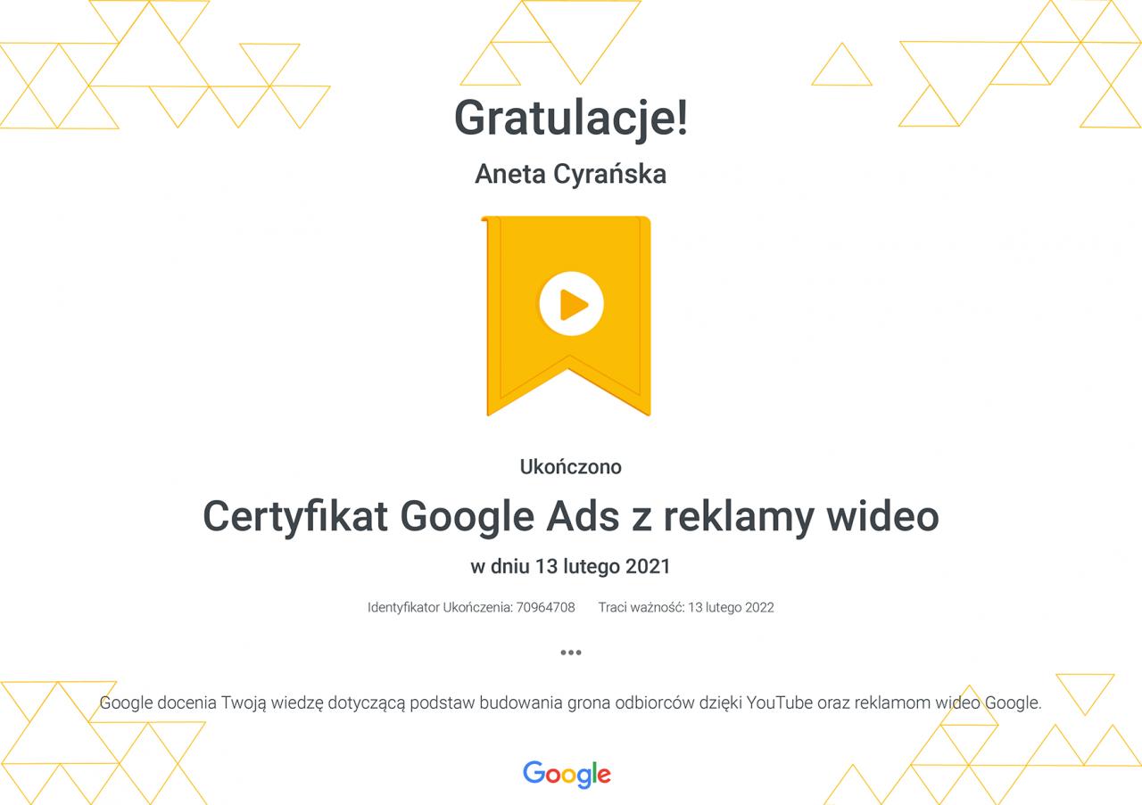 Certyfikat Google Ads zreklamy wideo _ Google